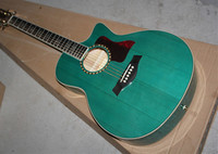 Factory Custom 41'' cutaway body transparent blue Acoustic Guitar with solid top Quilt Maple back golden tuners 16704