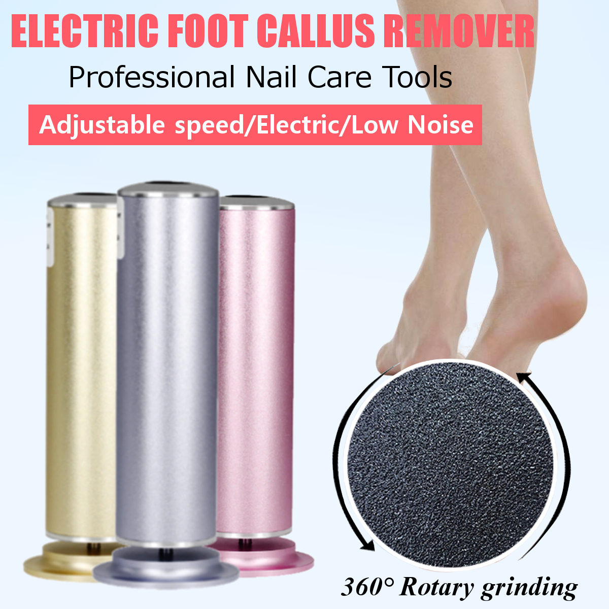 Electric Foot File Foot Care Tool Smooth Pedicure Device Grinding Foot Callus Dead Cuticle Skin Remover Exfoliating MachineElectric Foot File Foot Care Tool Smooth Pedicure Device Grinding Foot Callus Dead Cuticle Skin Remover Exfoliating Machine