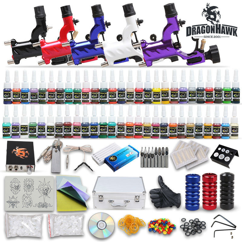 ФОТО Complete Tattoo Kit 5 Rotary Tattoo Machines Gun 54 color Ink Tattoo Power supply