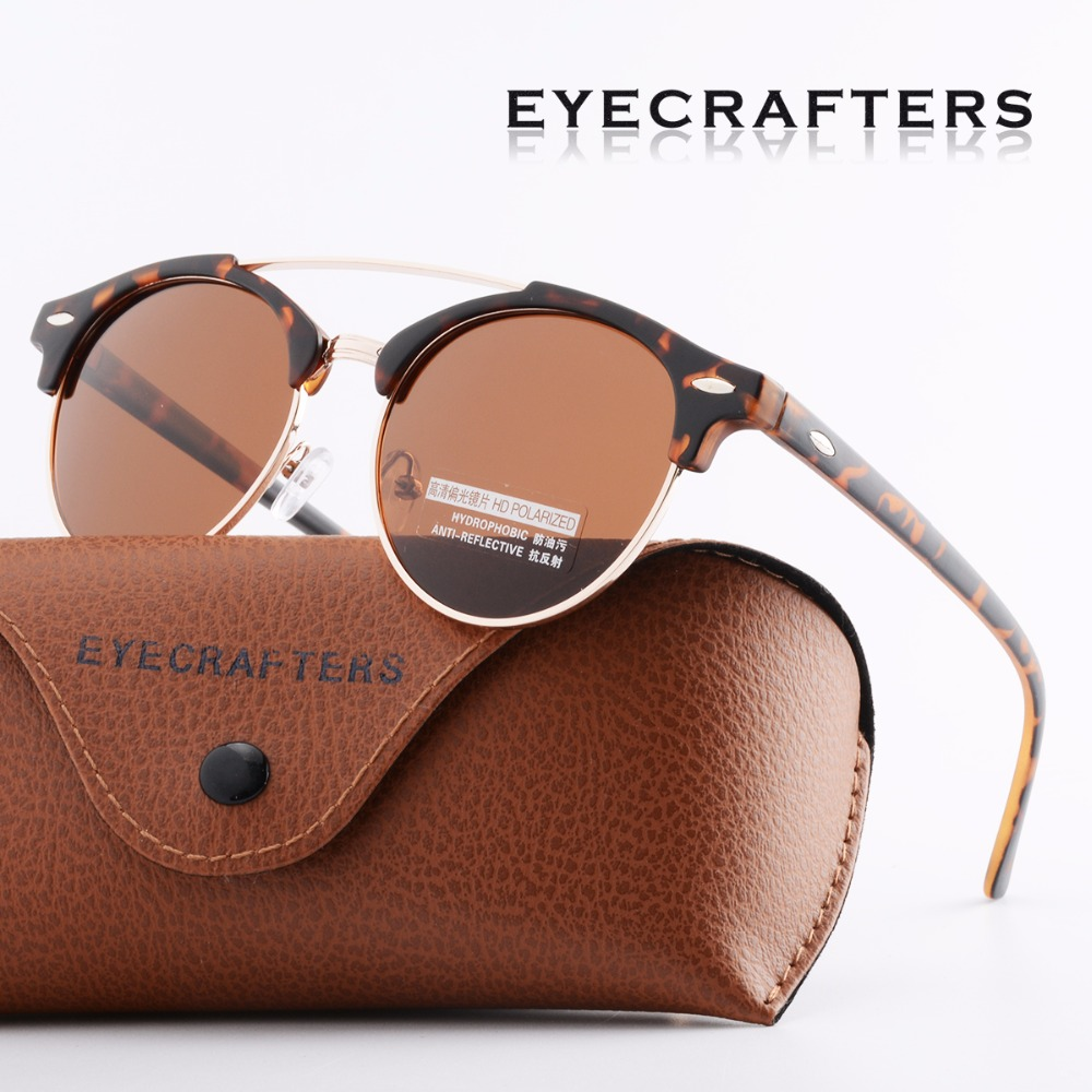 02f8a4bd64f9 משקפי שמש לנשים - Tortoise Brown Retro Vintage Mens Polarized Sunglasses  Womens Brand Design Club Round Sunglasses Double Bridge Eyewear UV400