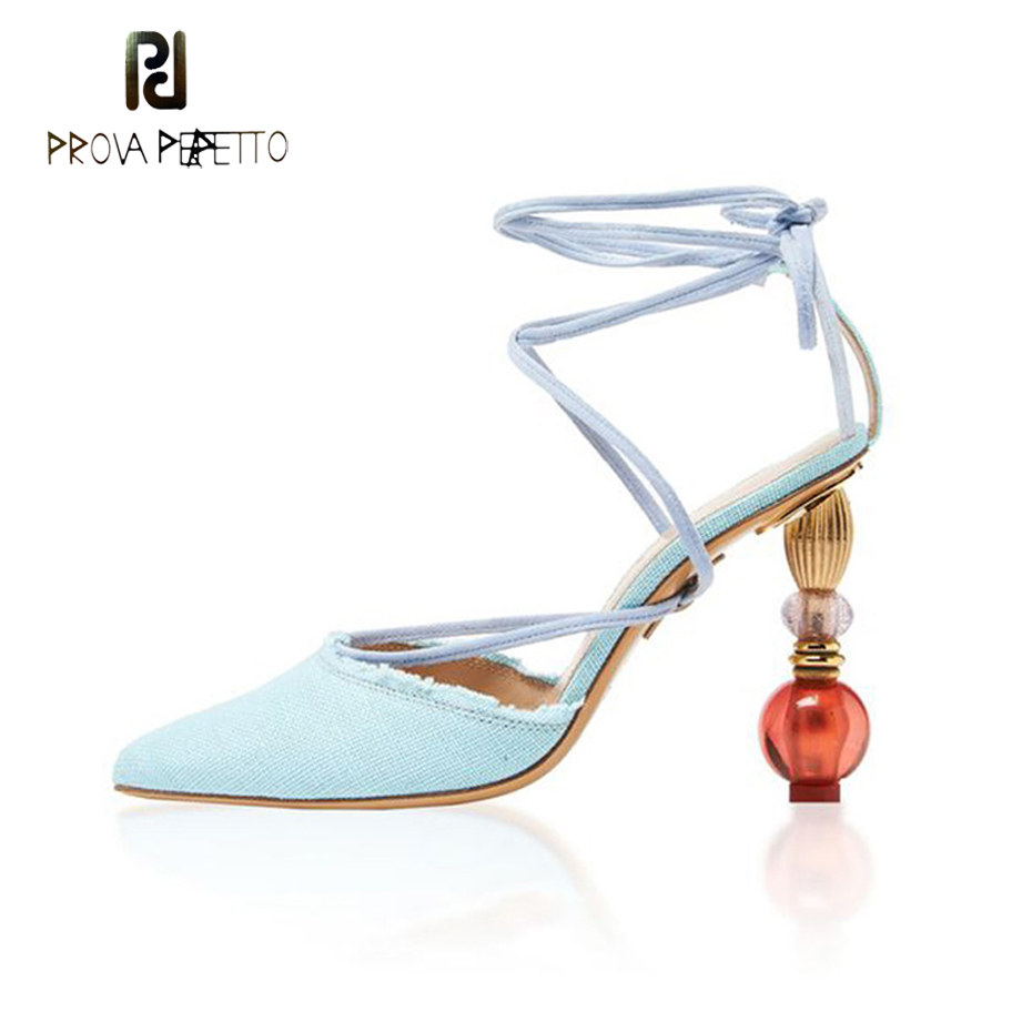 Prova Perfetto 2019 spring summer runway shoes female pointed toe strange style high heel sandals cross