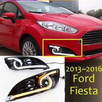 2pcs headlamp For Fiesta daytime light;2009~2012/2013~2016,LED DRL headlight Fiesta fog light,car accessoriesFiest