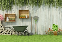 Laeacco Green Spring Grass Wheel Barrow Garden Tools Wooden Wall Child Scenic Photo Backdrop Backgrounds Photocall Studio
