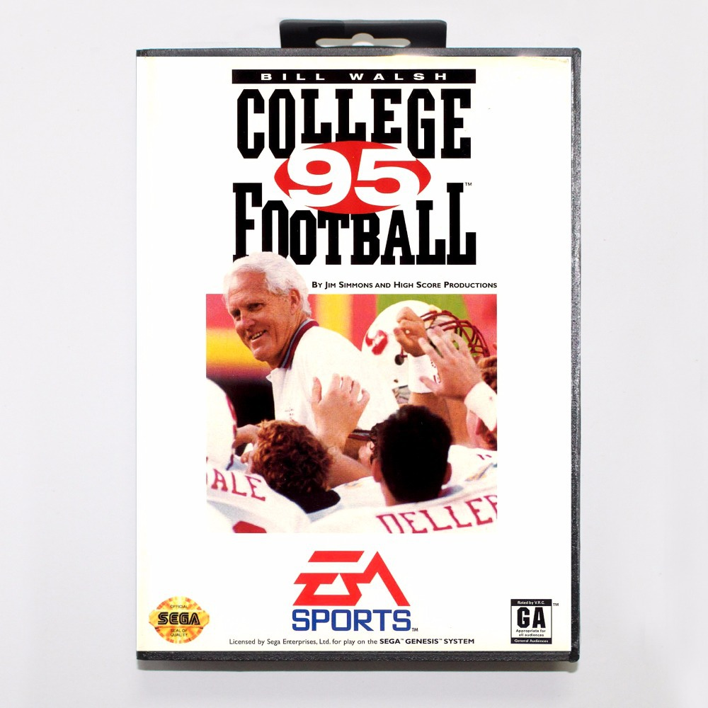 Bill Walsh College Football 95 Game Cartridge 16 bit MD Game Card With Retail Box For Sega Mega Drive For Genesis