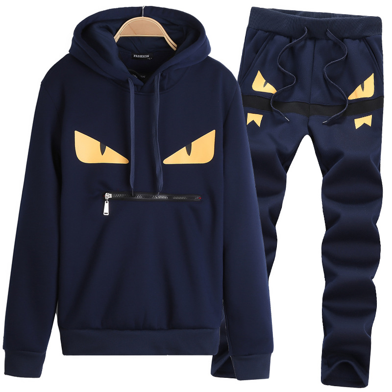 7a4ed484 Men's Tracksuit Warm Sportwear Sets Brand Fleece Lined Thick Tracksuit Men  Suits Hoodies+Pants Male