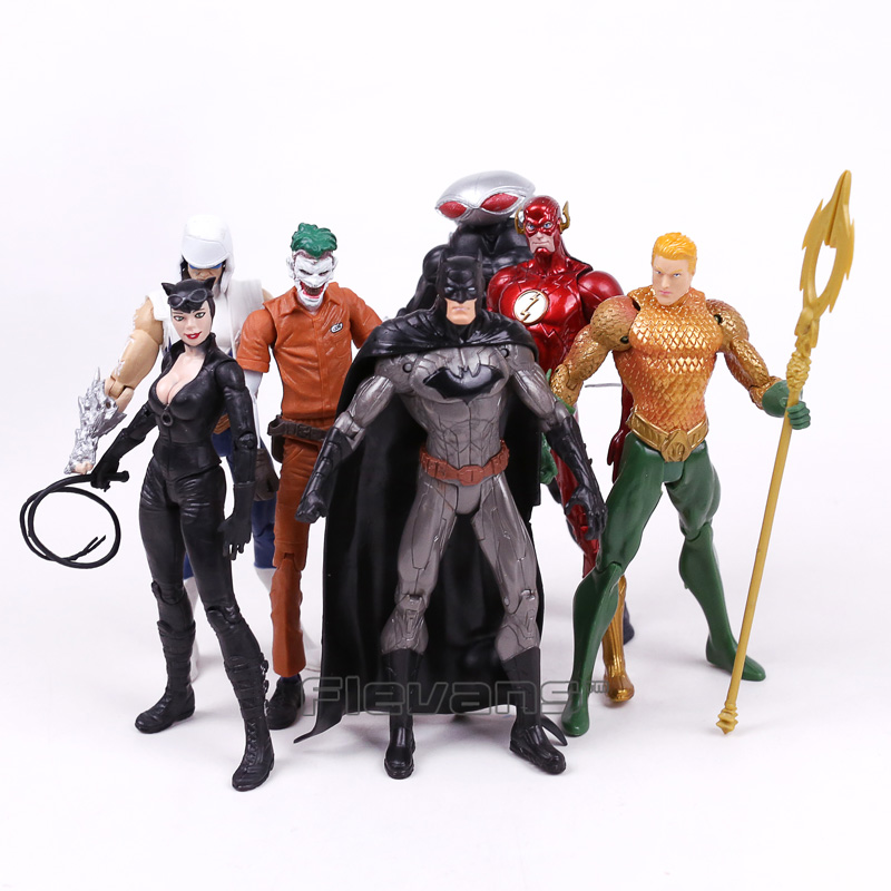 DC COMICS Batman Joker The Flash Catwoman Aquaman Captain Cold Black Manta PVC Action Figures Collectible Model Toys 7pcs/set