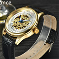 MCE brand Mechanical watch Fashion Casual men Hand Wind mechanical wrist watches Black Leather skeleton watch men Montre homme