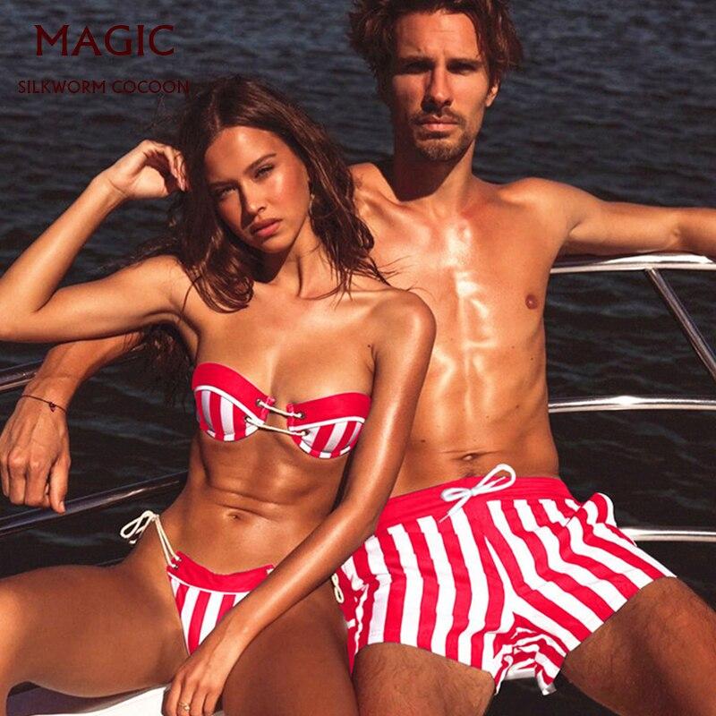 Couple Beach Swimwear, Ladies Bikini Suit, Men's Beach Pants, Spa Beach Vacation Swimsuit