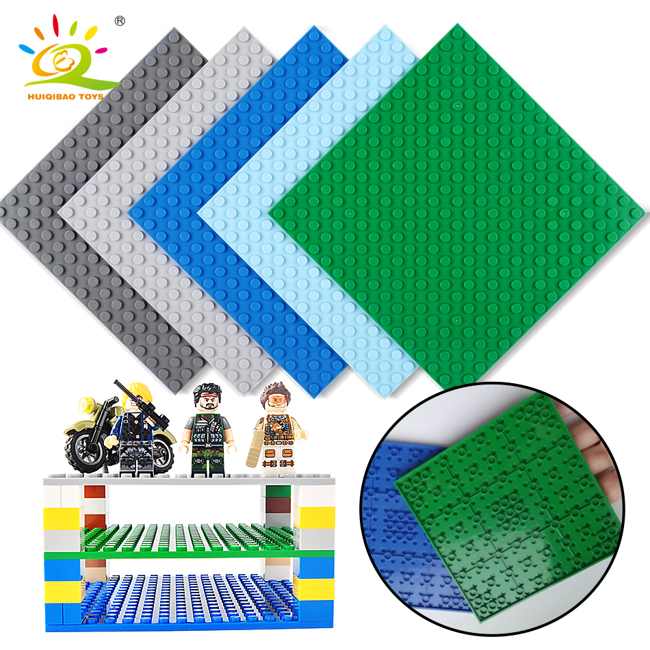 5 color 16*16 Dot Double side BasePlate Board for Bricks Compatible Legoing classic city figure Building Block Toys For Children