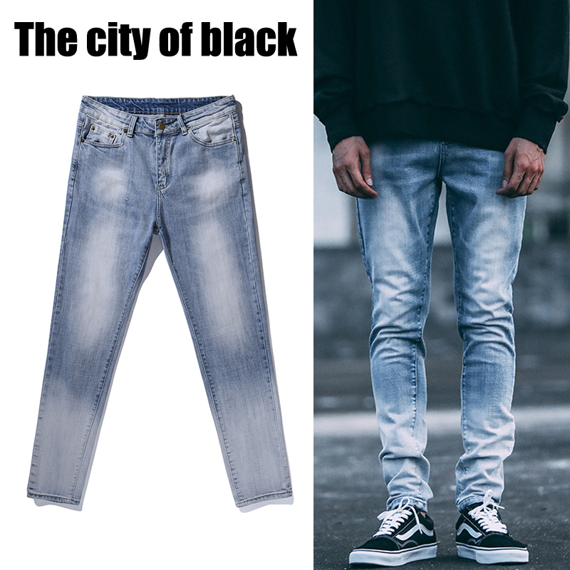 2017 NEW fashion street mens destroyed hole casual pants ankle cool green  jeans jogger rock hiphop - Compare Prices On Destroyed Skinny Jeans Men- Online Shopping/Buy