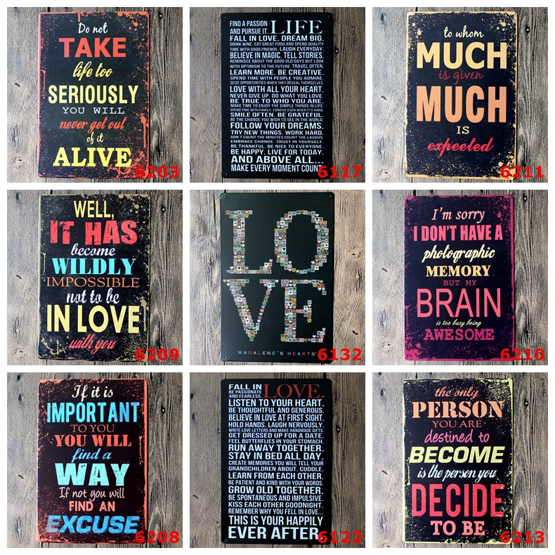 20 30cm Free Shipping Tin Signs Metal Painting Wall Art Craft Plaque