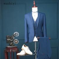 wuzhiyi latest coat pant designs wedding suits for men costume mariage homme 3 pieces terno slim fit suit jacket+vest+pants 2018