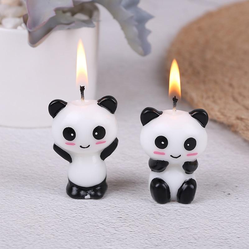 1 St/2 Stks Leuke Panda Verjaardagstaart Kaarsen Cartoon Dier Kaars Cake Toppers Baby Shower Verjaardagsfeestje Decoratie