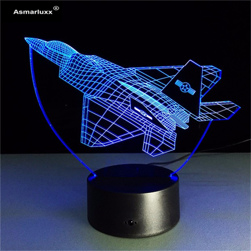 Aircraft 3D Night Lights War Plane Fighter Table lamp Multi Colors Military Jet Plane with USB Power Decor Gift For Army Fan