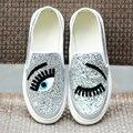Марка женщины сдобы кьяра ferragni обувь Slip-On Flat Zapatos Mujer Блеск Ресниц большие глаза мода женская Обувь Ленивый мокасины