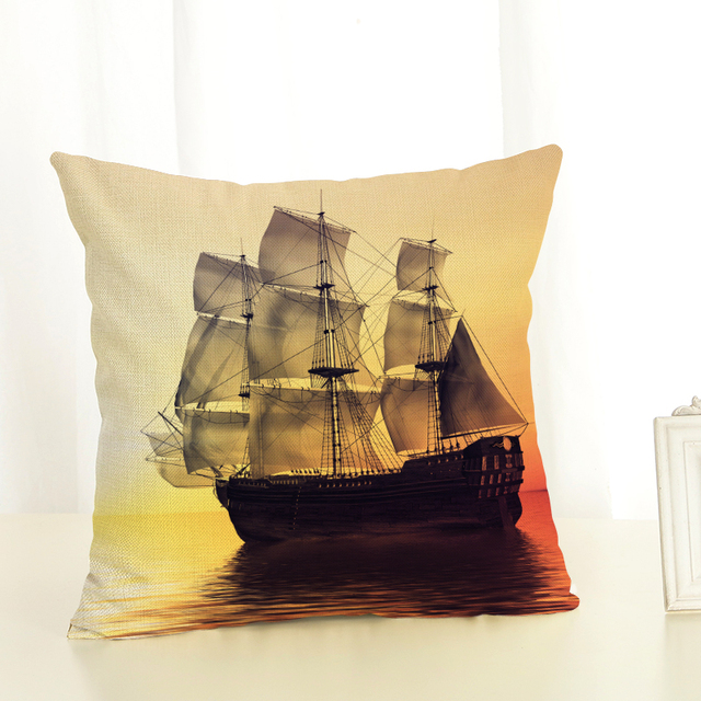 Big ship Sofa Cushion Case Home Decor 45Cmx45Cm linen Square Sofa Bed Car print Pillow Cover Linen cushion cover 1