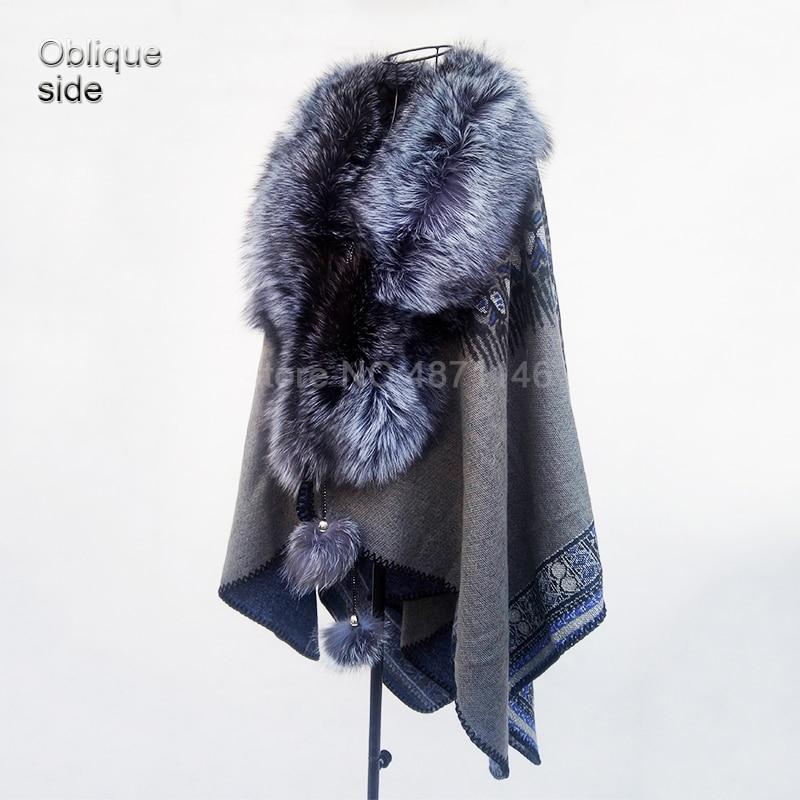 Nouveau Printemps Automne Femelle femmes noble Vague véritable silver fox col de fourrure châle réel de fourrure pompon chauve-souris manteau Pashmina pardessus vêtements