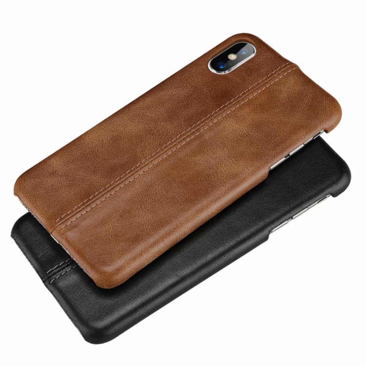 Couro genuíno retro costura fosco caso de volta para o iphone 11 7 8Plus X XS XR para Samsung galaxy Note8 note9 S8 S9 S10PLUS caso