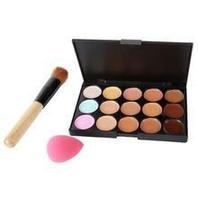 Face Concealer Primer Cream 15 Color Contour Palette Makeup Corrector Base Palette + Sponge Puff + Powder Brush Makeup set цена
