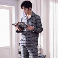 J&Q new arrival male pajamas thicken air cotton long sleeves pants pajamas for men plush bottom nightwear suit men sleepwear
