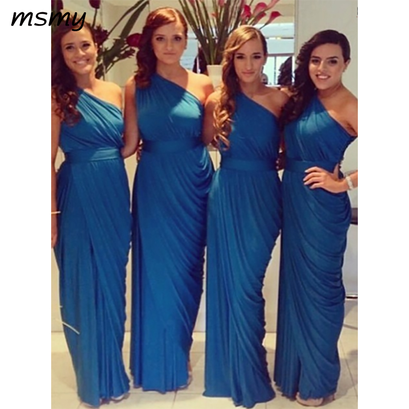 Elegant A-Line One Shoulder   Bridesmaid     Dresses   Sleeveless Pleat Cheap Long   Bridesmaid     Dresses   With Bow Custom Made