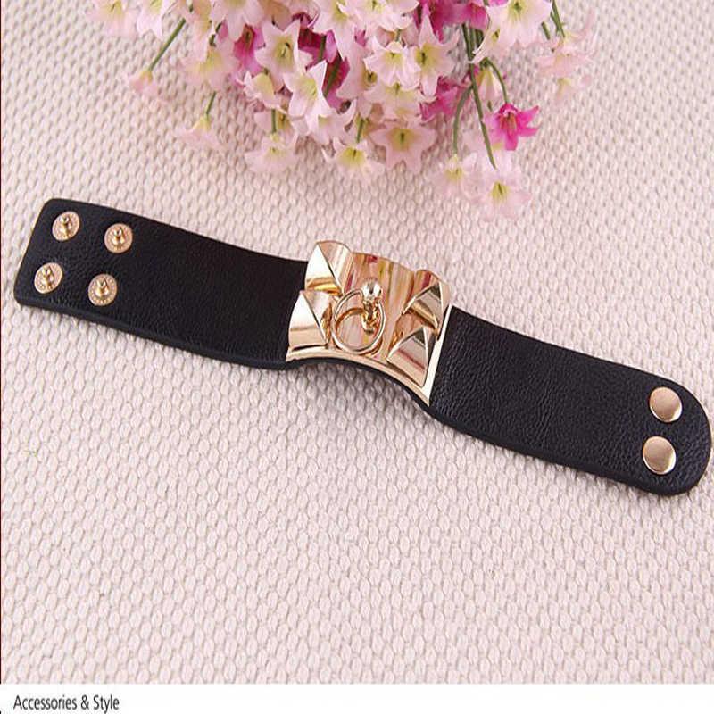 Handmade Leather Bracelets Fashion Black Punk Wide Cuff Bracelets & bangle for Women Jewelry 2016 Accessory  #B409