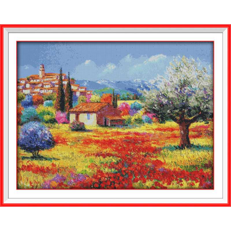Everlasting love Colorful rural 1 Ecological cotton Chinese cross stitch kits counted stamped 11 CT 14 CT New sales promotion in Package from Home Garden
