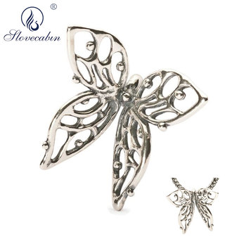 076e31d6e6ff Slovecabin 925 cuentas de Troll de plata de ley dijes collar de mariposa  grande pulsera para joyería de marca que hace colgante de regalo