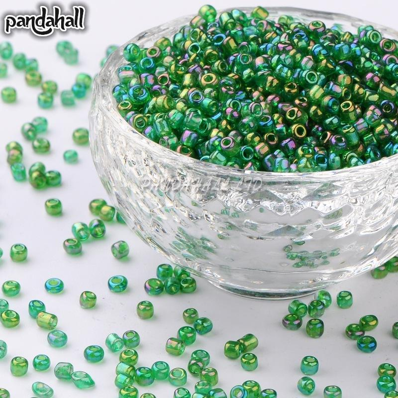 Round Glass Seed Beads, Transparent Colours Rainbow Round Size: about 3mm in diameter hole:1mm