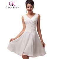 Free Shipping 1pc Lot GK White Chiffon Short V Neck Ball Sexy Cocktail Dresses CL6059