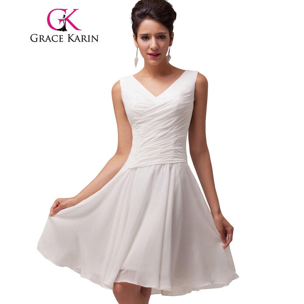 גרייס קארין V-צוואר קפלים קצר שיפון שמלת קוקטייל לבן מפלגה באורך הברך שמלות אירוע מיוחד שמלת Robe De קוקטייל