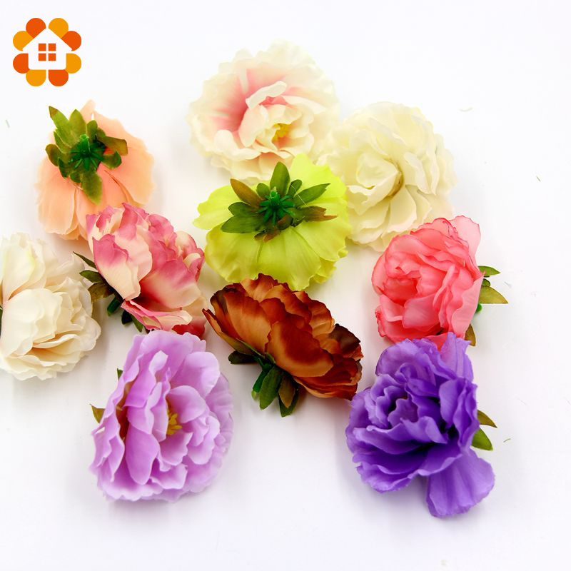 10pcs silk peony handmake artificial flower heads for for Flower heads for crafts