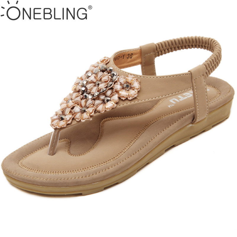 Fashion Flower Stones Casual Sandals Women 2017 New Beige Pink Black Flats Shoes Summer Flip Flops Sandals for Women