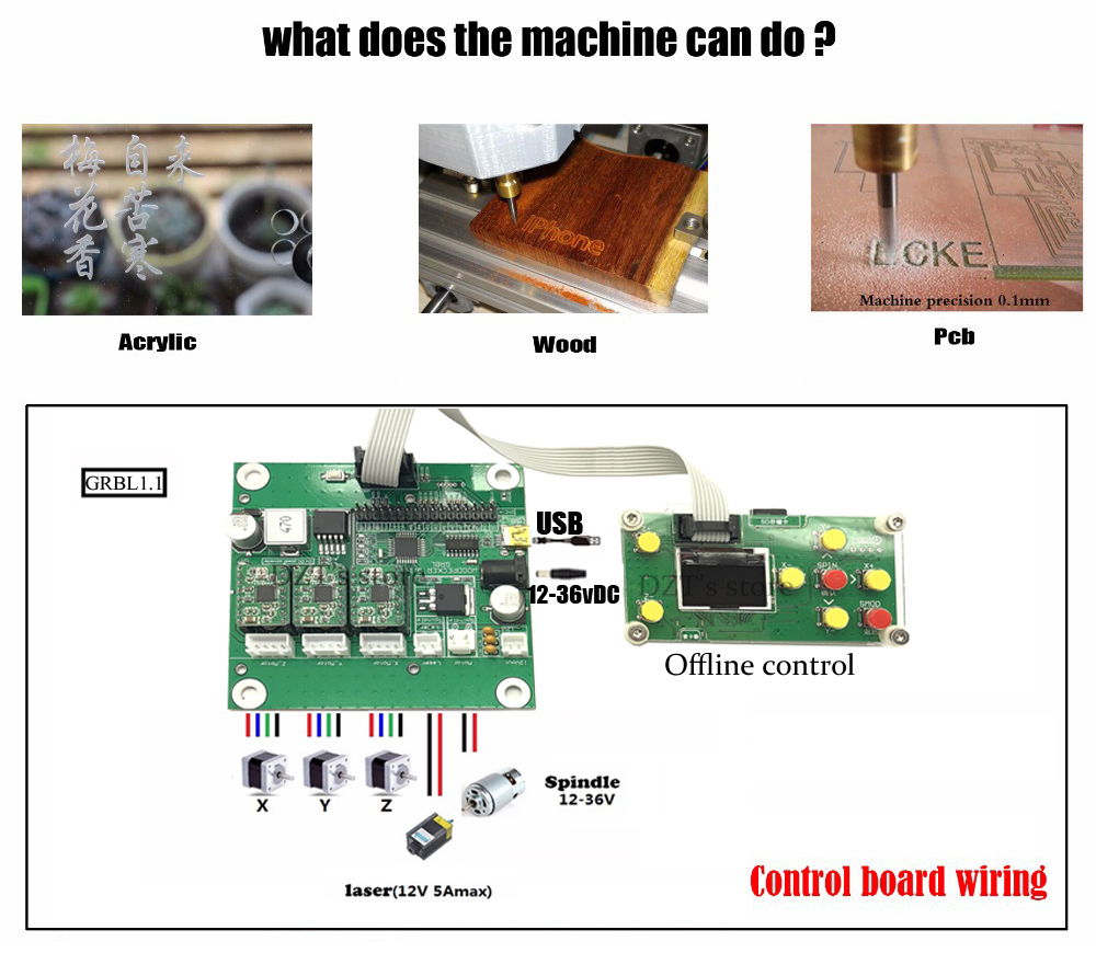 CNC 3018 Pro GRBL control ER11 Diy mini cnc machine,3 Axis pcb Milling  machine,Wood Router, laser engraving