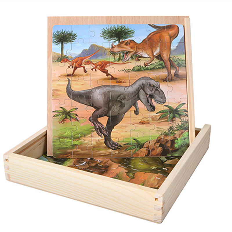 147pcs Wooden Dinosaurs Jigsaw Puzzles in a Box Animal Puzzle Board Children Early Learning Education toys цена