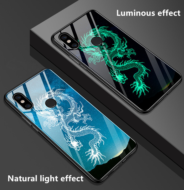 Glass Case For Xiaomi Mi Mix 3 Xiaomi Mix 3 2s Mix3 A3 9 se lite Case Luminous Tempered Glass Silicone full Protect Cover Cases