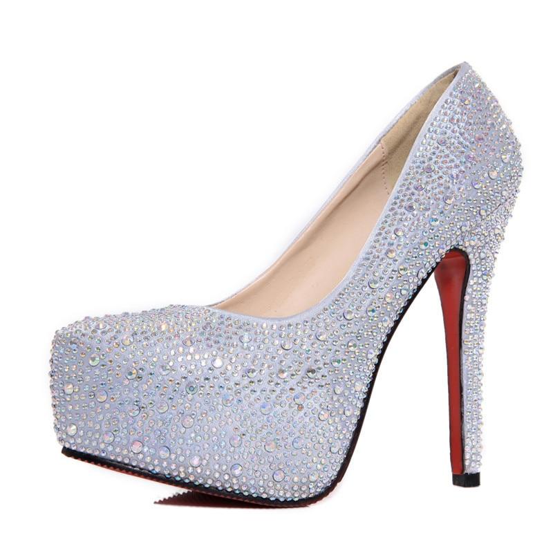 2018 Summer New Luxurious Rhinestone Platform Super High Heels Women Party  Pumps Sexy Elegant Round Toe Red Silver Wedding Shoes 36a97c29bedc