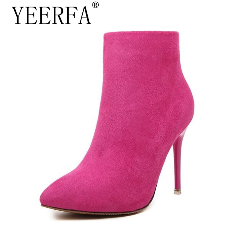 YEERFA Sexy Women Boots Solid Flock Suede Zip High heels Boots Lady Stiletto Pointed toe Ankle Boots Martin Boot Blue Rose Black