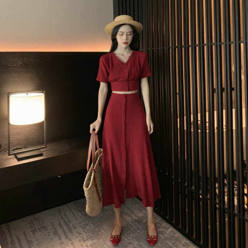 Two Piece Set Women Clothes 2019 Spring Summer Women Shirt Tops + Skirt Korean Vintage 2 Piece Outfits Ensemble Femme ZT2613