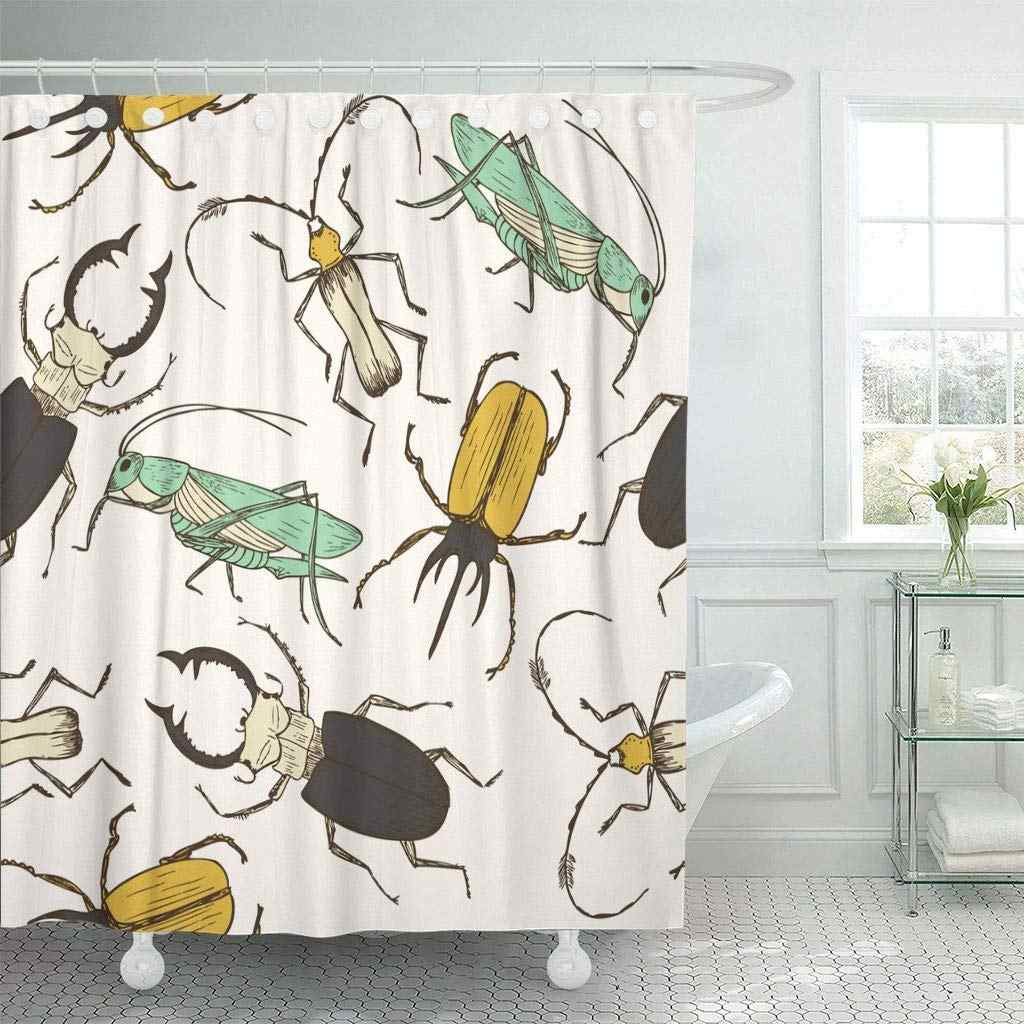 Shower Curtain with Hooks Brown Cartoon Bug Pattern Funny Grasshopper Stag Beetle Childish Perfect Wall Colorful  Bathroom
