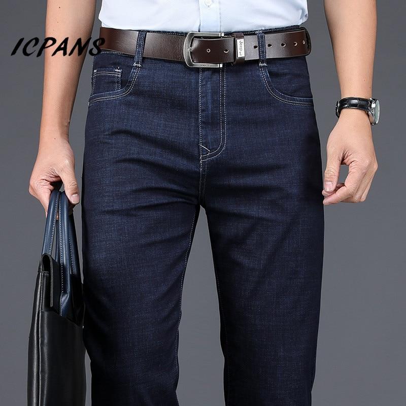 ICPANS, деловые мужские джинсы, прямые, свободные, тянущиеся, летние, тонкие, джинсы для мужчин, джинсы для отдыха, Мужская одежда, джинсовые брю