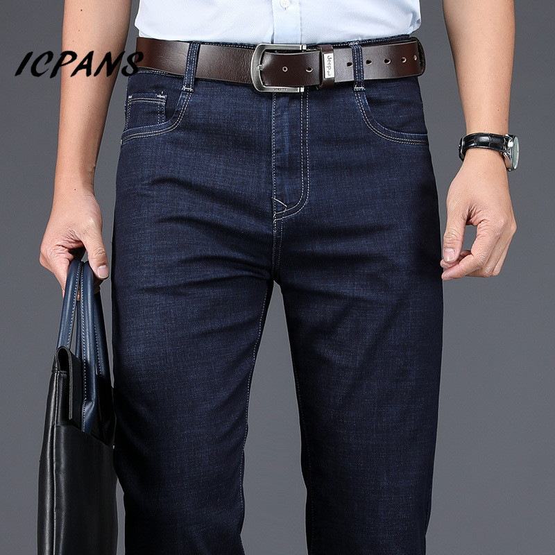 ICPANS Business Men's Jeans Straight Loose Stretch Summer Thin Denim Jeans For Men Leisure Jeans Man Clothing Denim Trousers 42