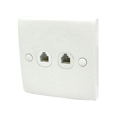 Белый 2-банды двойной RJ11 телефон модульный разъем розетка настенная тарелка
