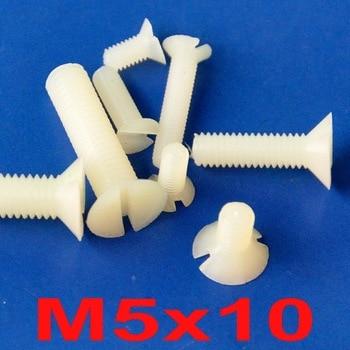 ( 1000 pcs/lot ) Metric M5 x 10mm Nylon Slotted Flat Head Countersunk CSK Screw.
