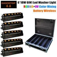 Стекируемые 5in1 случай дороги упаковка 6 х 18 Вт Беспроводной DMX Батарея светодиодные прожекторы RGBWA УФ 6in1 Цвет indoor дистанционное управление 90