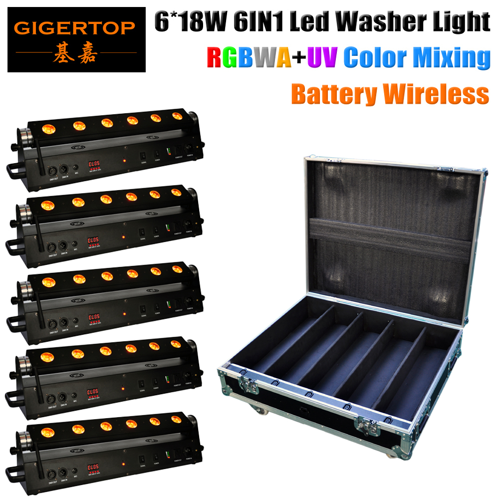Stackable 5in1 Road Case Packing 6x18W Wireless DMX Battery LED Wall washer RGBWA UV 6IN1 Color Indoor Remote Control 90V-240V accelerating road infrastructural delivery in ghana