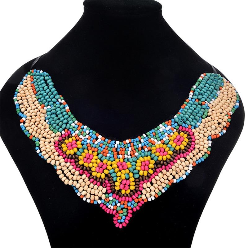QianBei Fashion Women Jewelry Cloth Wood Bead Choker Chunky Statement Chain Bib Necklace Party Wedding Anniversary Gifts