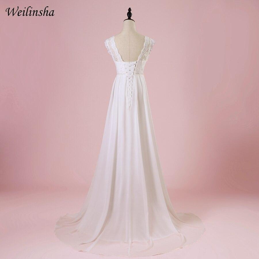 Weilinsha Cheap Chiffon Beach Wedding Dress 2019 Scoop A Line Summer Bridal Gowns Vestido de Noiva Pregnant Wedding Dresses-in Wedding Dresses from Weddings & Events    2