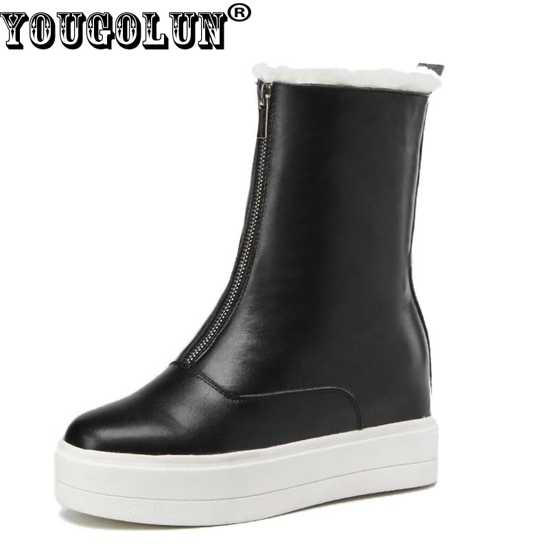 YOUGOLUN Winter Women Mid-Calf Boots Genuine Cow Leather Black Red Beige Platfrom Flat Shoes 30% Warm Wool Round toe Boot #Y-257 2017 latest men s mid calf boots genuine leather buckle strap round toe men s leather shoes chakku motorcycle boots
