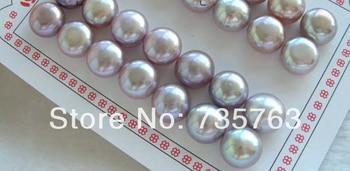 xiuli 00038 Wholesale 14pairs Natural 13mm Purple Pearl Earrings